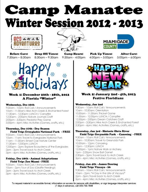 Camp Manatee - Winter Schedule 2012-2013