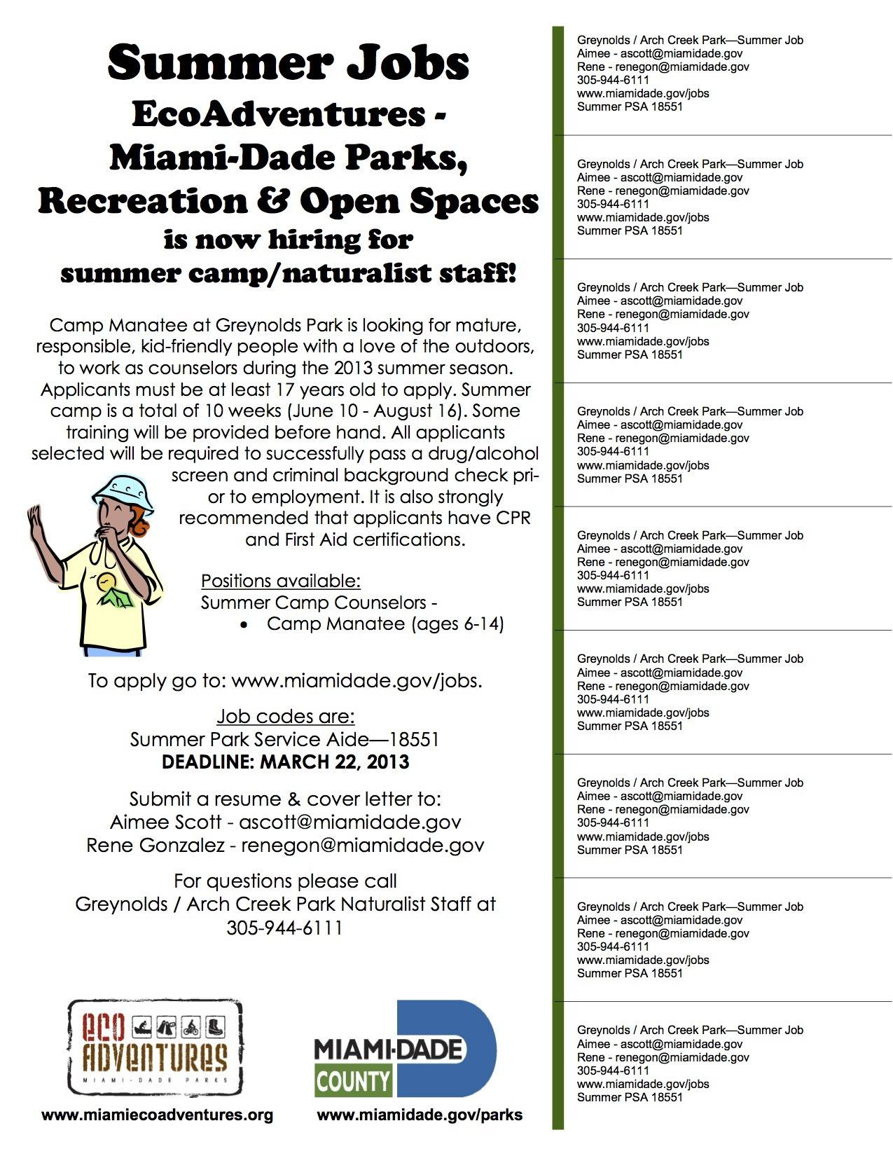 Now accepting applications for summer camp jobs arch creek park summer job flyer 2013 spiritdancerdesigns Images