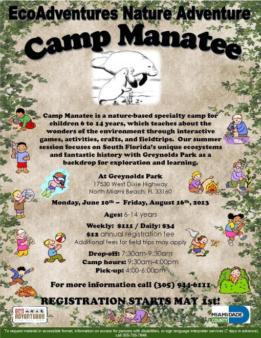 Camp Manatee Summer 2013 Flyer