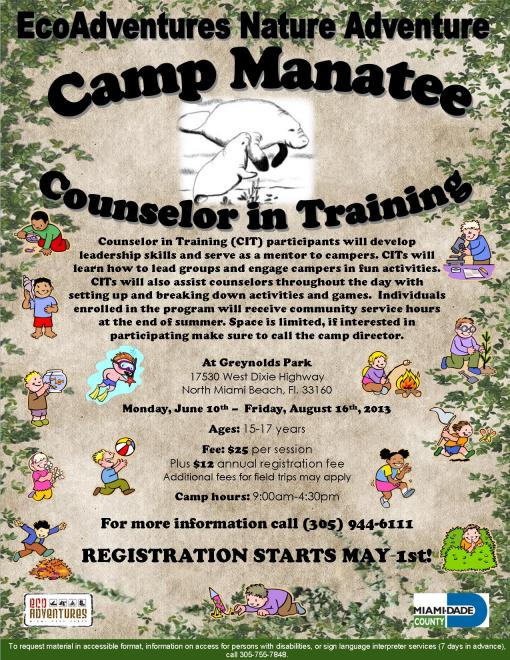 Camp Manatee CIT Summer 2013 flyer