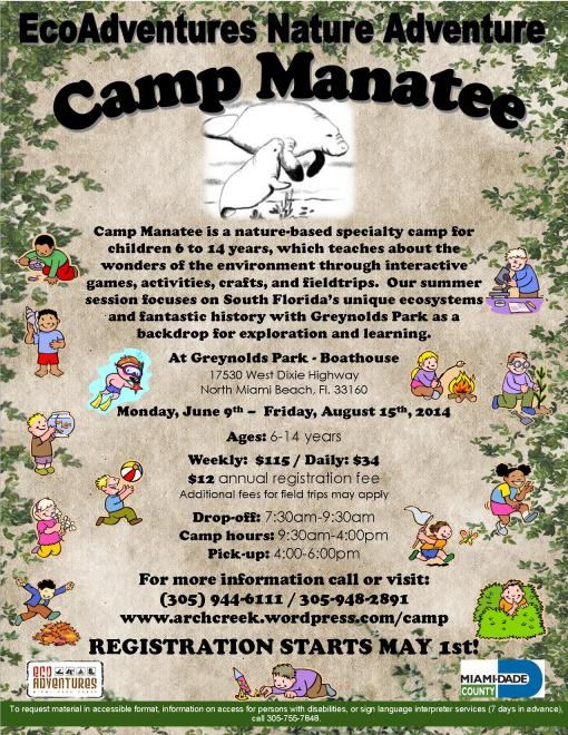 Camp Manatee Summer 2014 flyer