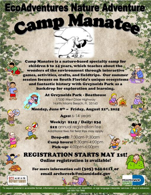 Camp Manatee Summer 2015 flyer