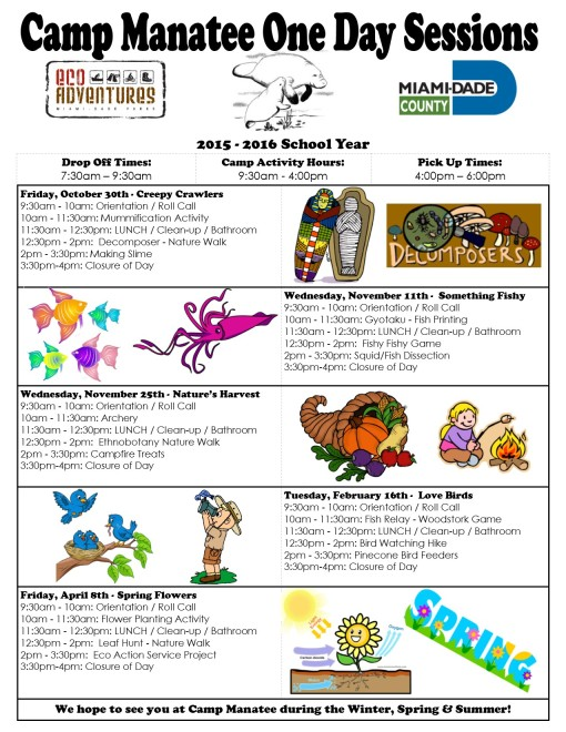 One Day camp schedule 2015-2016